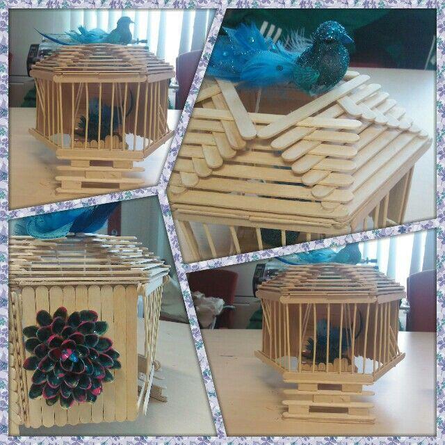 Popsicle stick bird house my creation 39 s pinterest for Popsicle stick creations ideas