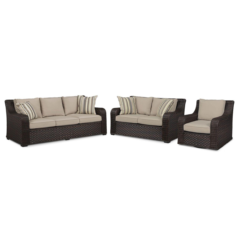 Outdoor Furniture   Doral Outdoor Sofa, Loveseat And Swivel Rocker Set   Tan