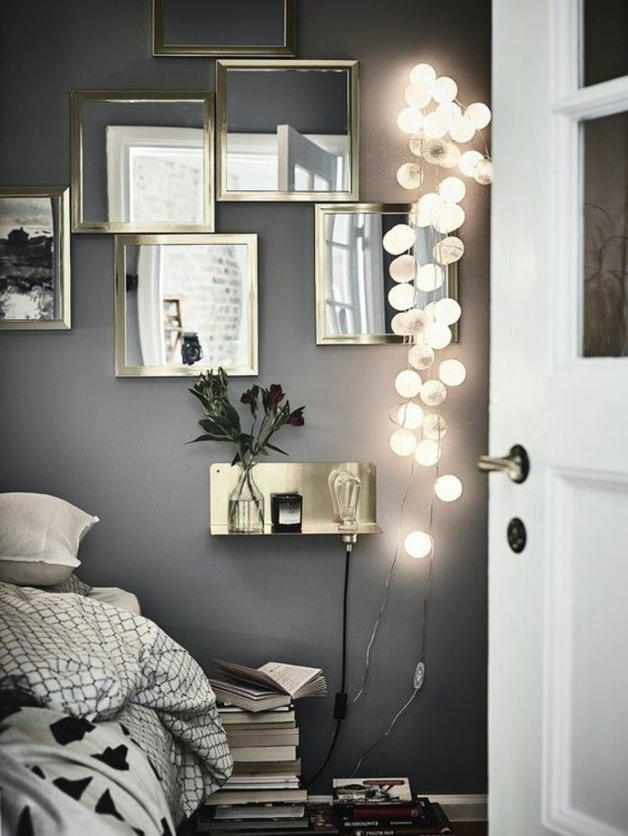 schlafzimmer deko eckige spiegel mit beleuchtung graue wand Home - schlafzimmer dekorieren wand