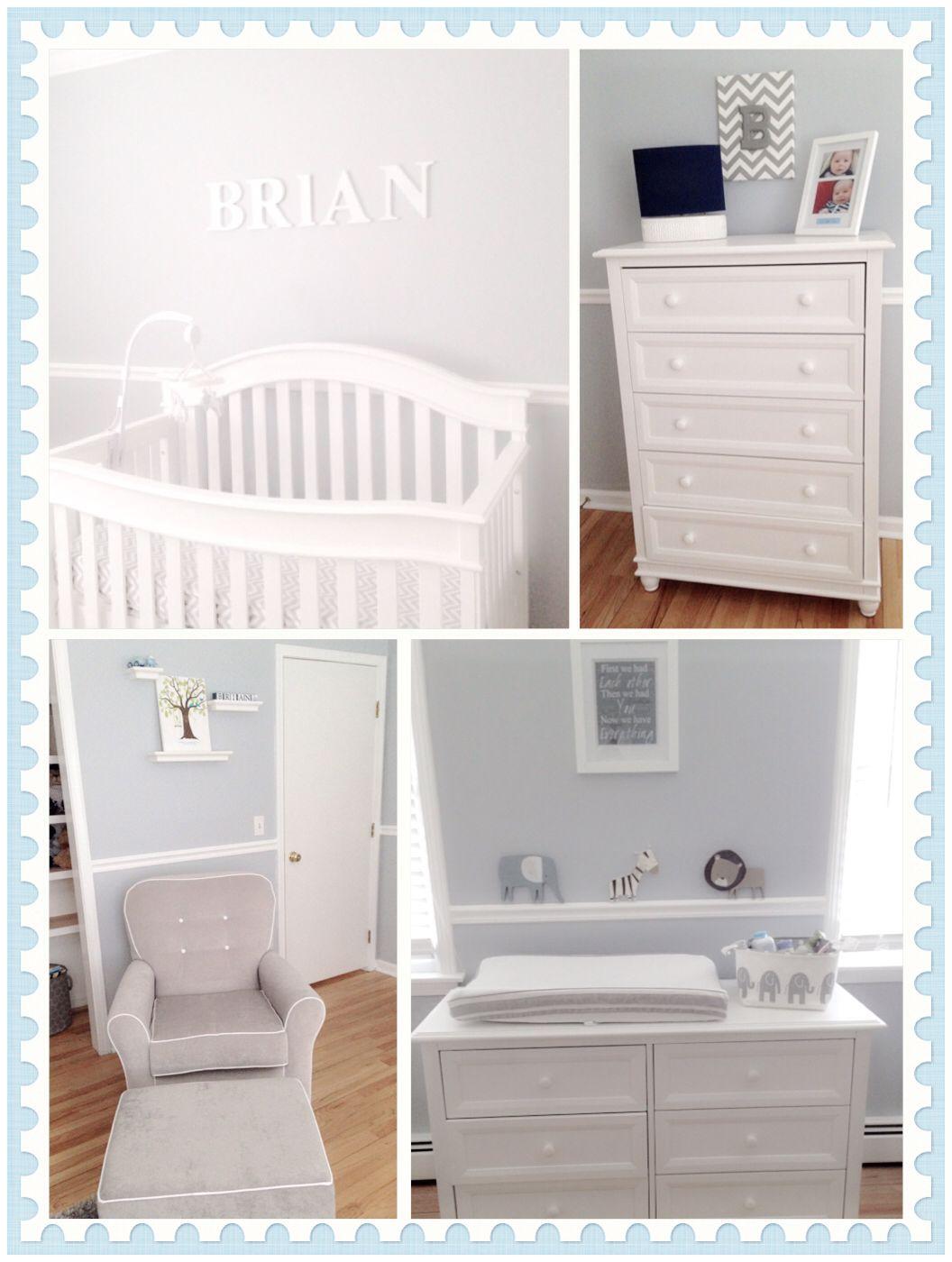 Baby Boy Room Paint Ideas: Baby Boy Nursery Room Using Half Silver Dollar Benjamin