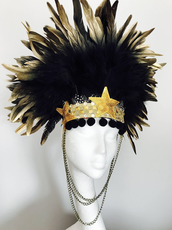 feather headband boho feather crown halloween costume leather feather crown gold boho crown festival crown Bohemian feather crown