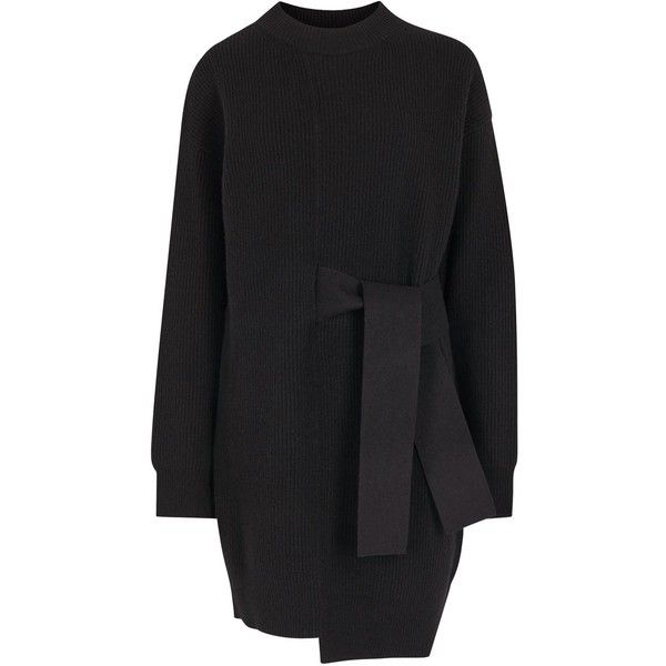 Proenza Schouler Black Belted Wool Blend Jumper Dress (575 AUD) ❤ liked on Polyvore featuring dresses, black, coats, outerwear, stretchy dresses, proenza schouler, stretch dress, asymmetrical hem dress and ribbed dress