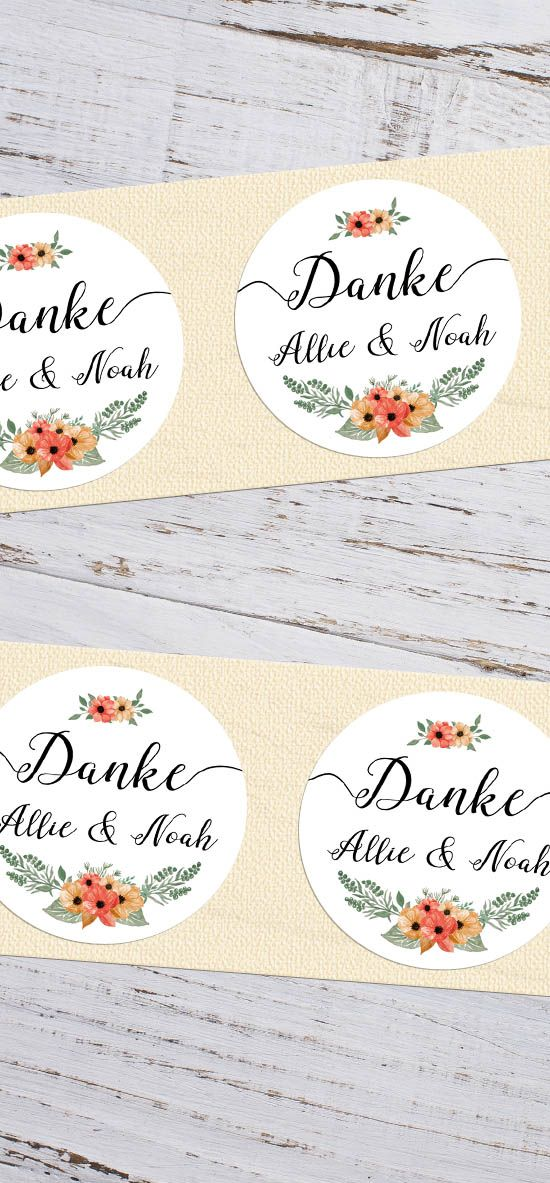 runde Etiketten für Gastgeschenke zur Hochzeit \