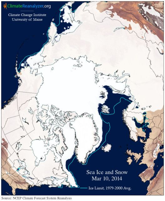Bangor Maine University Of Maine Record Low Sea Ice Cover On March 10 2014 A Time That Typically Features With Images Sea Ice Nature Conservation University Of Maine