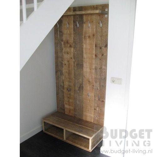 Steigerhouten kapstok staand kapstok beits en hout - Hout deco trap ...
