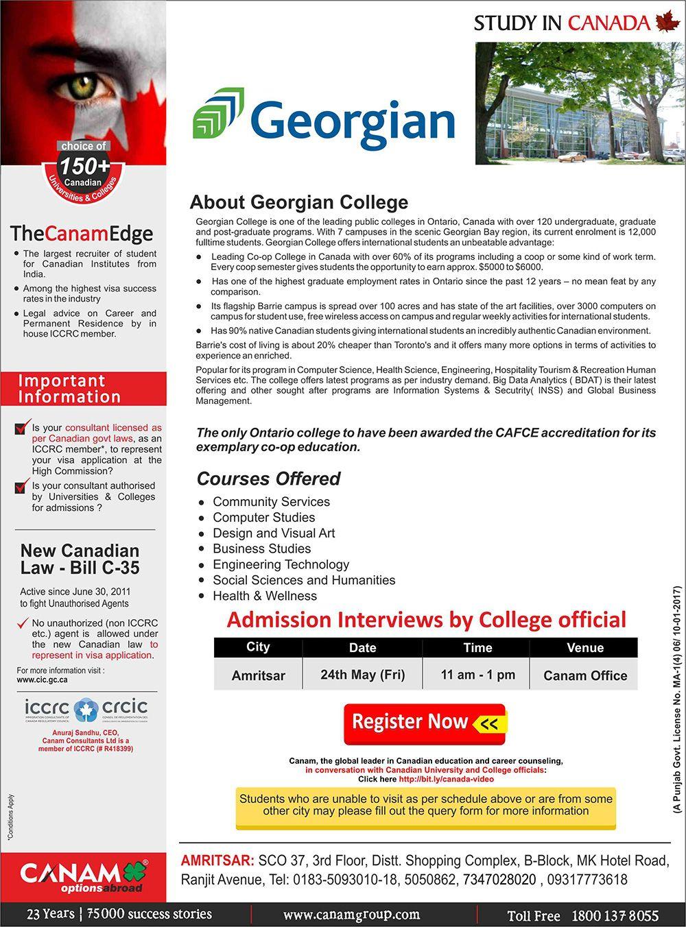 Study In Georgian College Canada Canam Consultants Georgian College College International Job Search