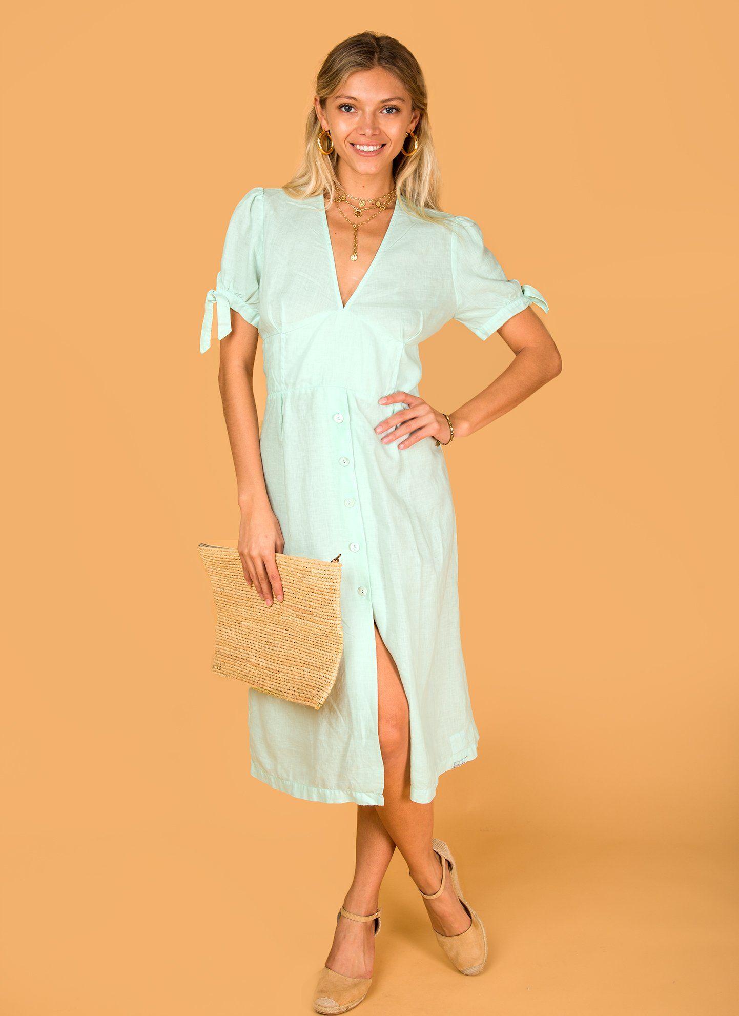 Photo of #8394 Dress Linen for Women – White, Aqua, Blue, Green All  100% Natural Italian Style Deep-V Dress With Button Details – XXL / AQUA