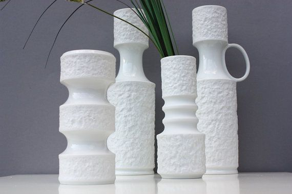 4 bisque vases white porcelain Germany Royal by wohnraumformer
