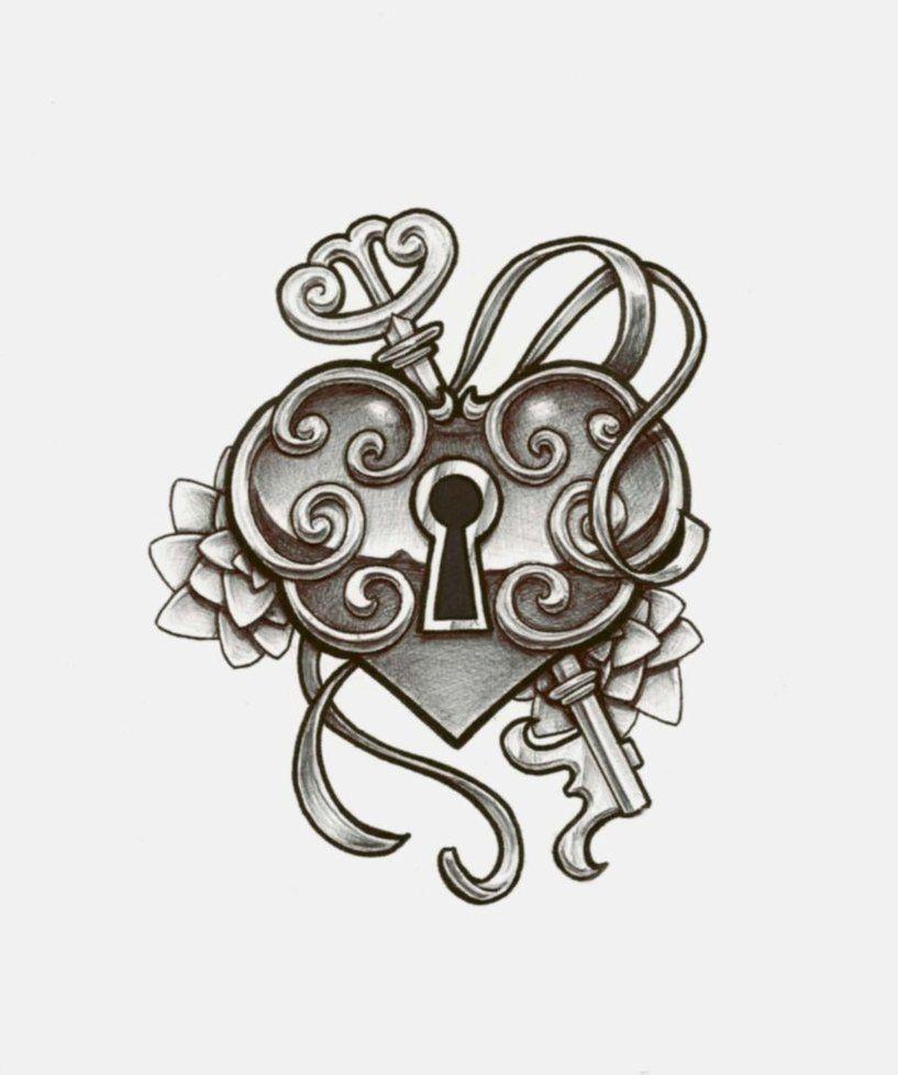 Pics photos heart lock flowers n key tattoo design - Cute Heart Locket With Key Tattoo Design Black And White
