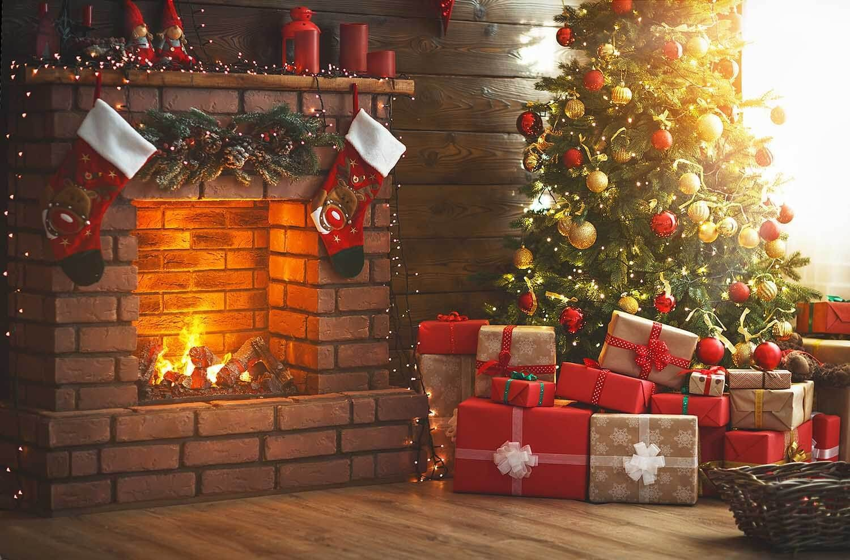 Interior Classic Christmas Tree Fireplace Photography Backdrop J 0811 Christmas Tree And Fireplace Christmas Fireplace Christmas Backdrops