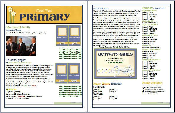 Fall Newsletter Primary Sharing Time Primary Primary 2015