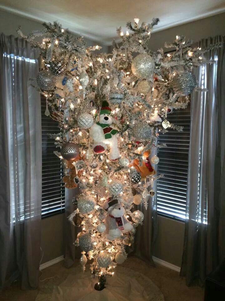 Silver Upside Down Christmas Tree | Upside down christmas tree, Christmas tree, Christmas ...