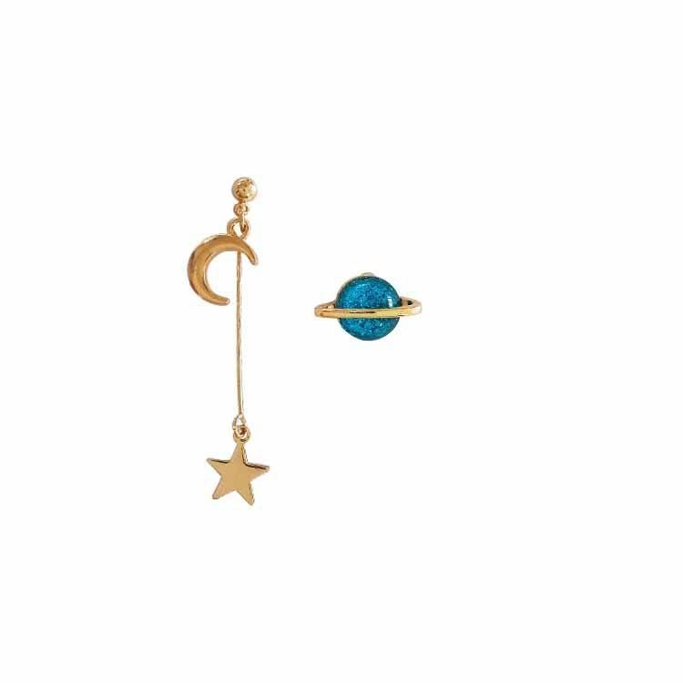 d68bbcdf0538c8 itGirl Shop METALLIC LONG ASYMMETRIC MOON SATURN PLANET EARRINGS Aesthetic  Apparel, Tumblr Clothes, Soft Grunge, Pastel goth, Harajuku fashion.