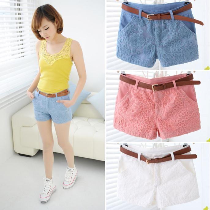 2015 New Sweet Lady Embroidery Fashion Casual Shorts with Belt Lace Shorts High Waist Shorts Short Feminino Shorts Cintura Alta