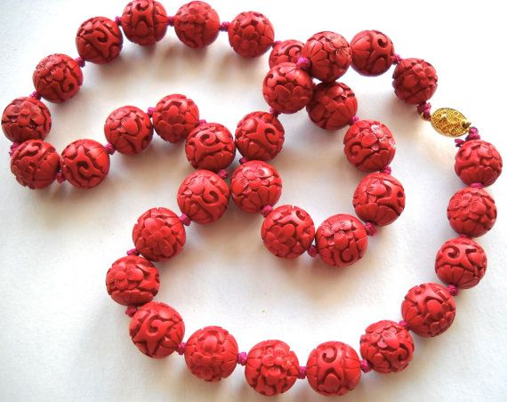 CHINESE CINNABAR Carved Dogwood Flower Necklace by JoolsForYou