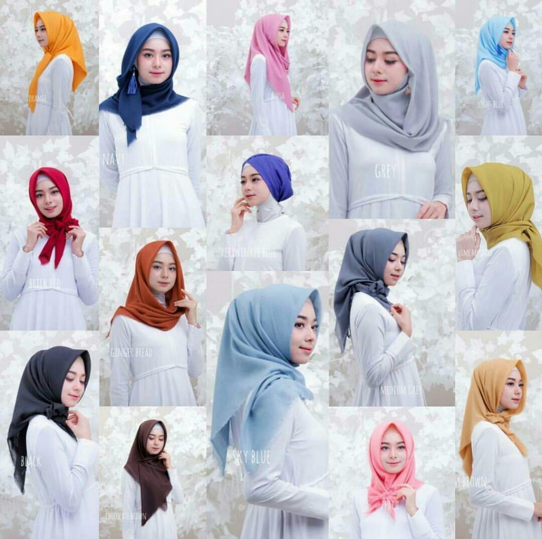 Jilbab Segi Empat Terbaru Rawis Aneka Warna Ukuran 10x10