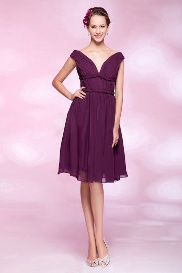 A-line Off-the-pleated knee-length Bridesmaid Dress