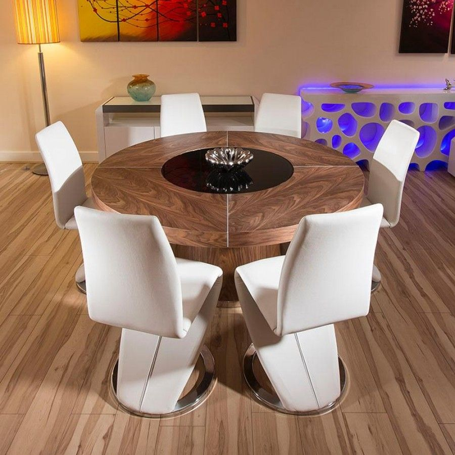Large Round Walnut Dining Table With 6 High Back White Z Shaped