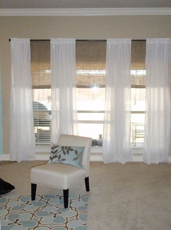 Sheer Curtains And Bamboo Blinds Love The Linen Mixed With Shades Would Have Installed Them Higher But Like This Look