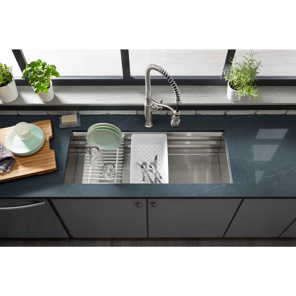 Kohler Prolific Undermount Stainless Steel 44 In Single Bowl Kitchen Sink With Included Accessories K 23652 Na The Home Depot Single Bowl Kitchen Sink Functional Kitchen Sink
