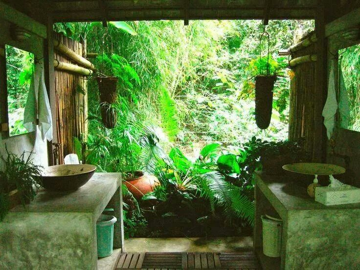 Indoor/Outdoor bathroom.. beautiful, but hopefully not bug infested? Would suck to lift the toilet seat to find a giant cockroach or be surprised by a snake hanging out in the sink