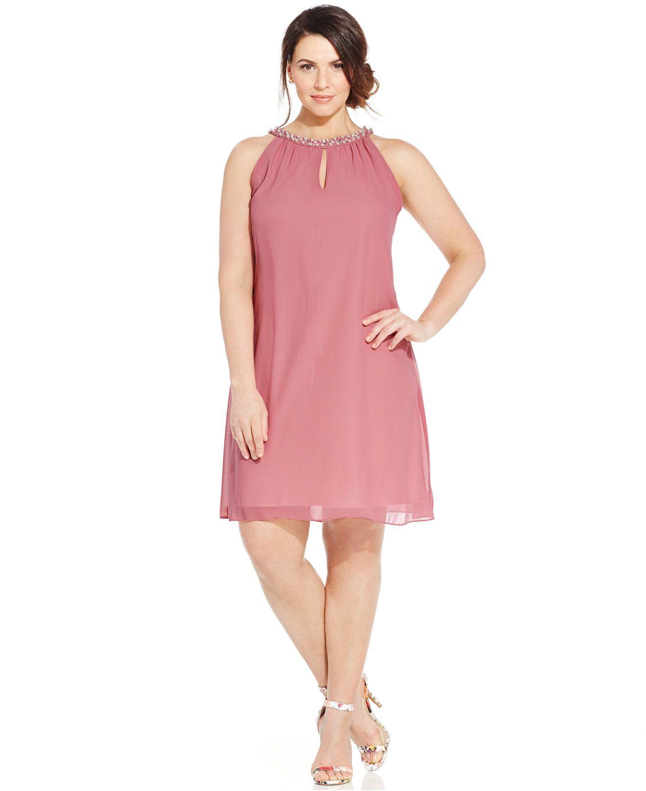 SL Fashions Plus Size Faux-Pearl Halter Shift Dress - Dresses - Plus ...
