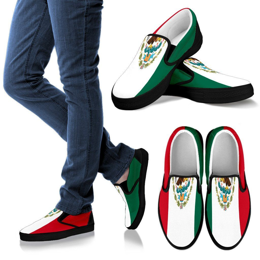 Mexican Flag Print Slip On Shoes, Men's, Black, #Mexico