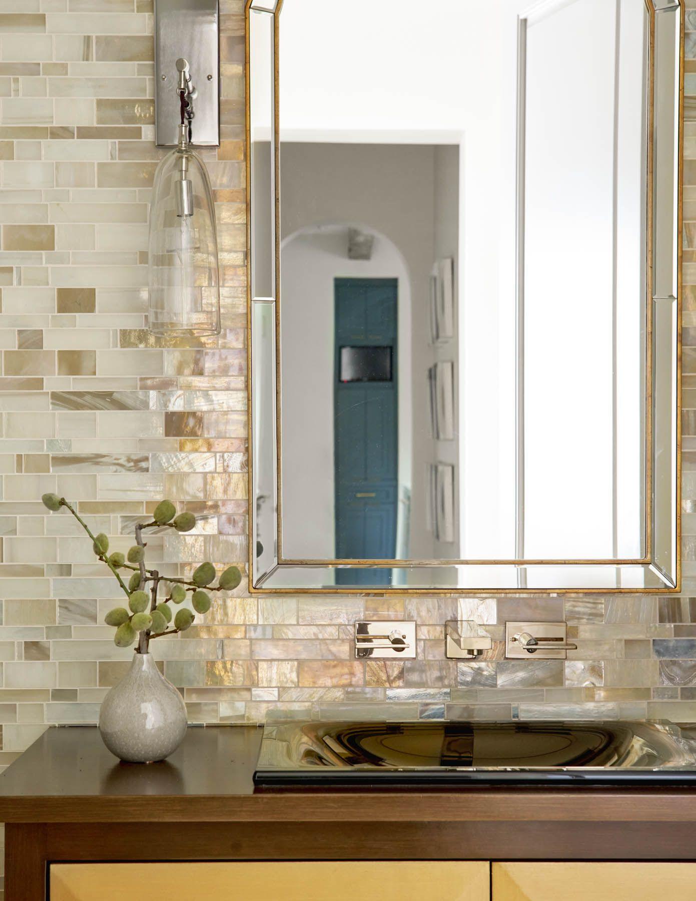 Stunning Metallic Like Backsplash In The Bathroom Seneca Tatum