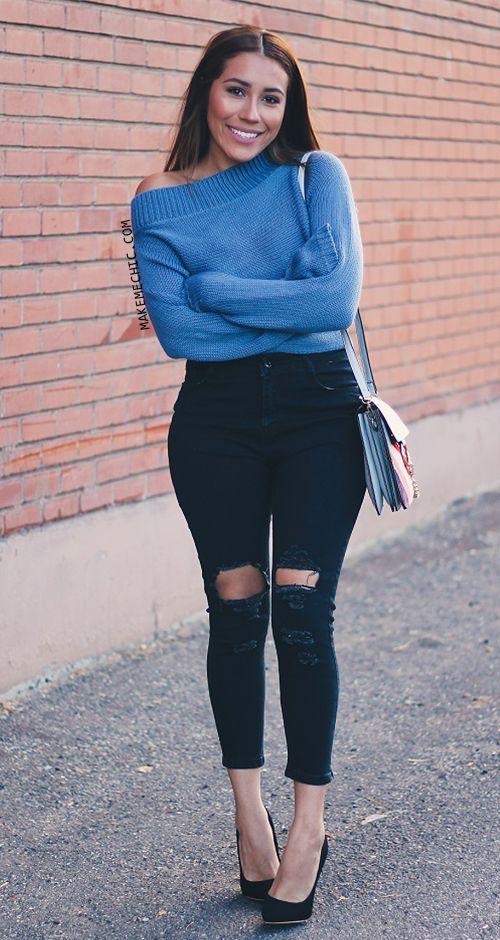 Blue Ribbed Trim Off The Shoulder Sweater