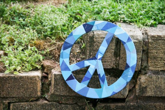 Blue Recycled Decoupage Peace Sign by crazyaboutgreen on Etsy, $20.00