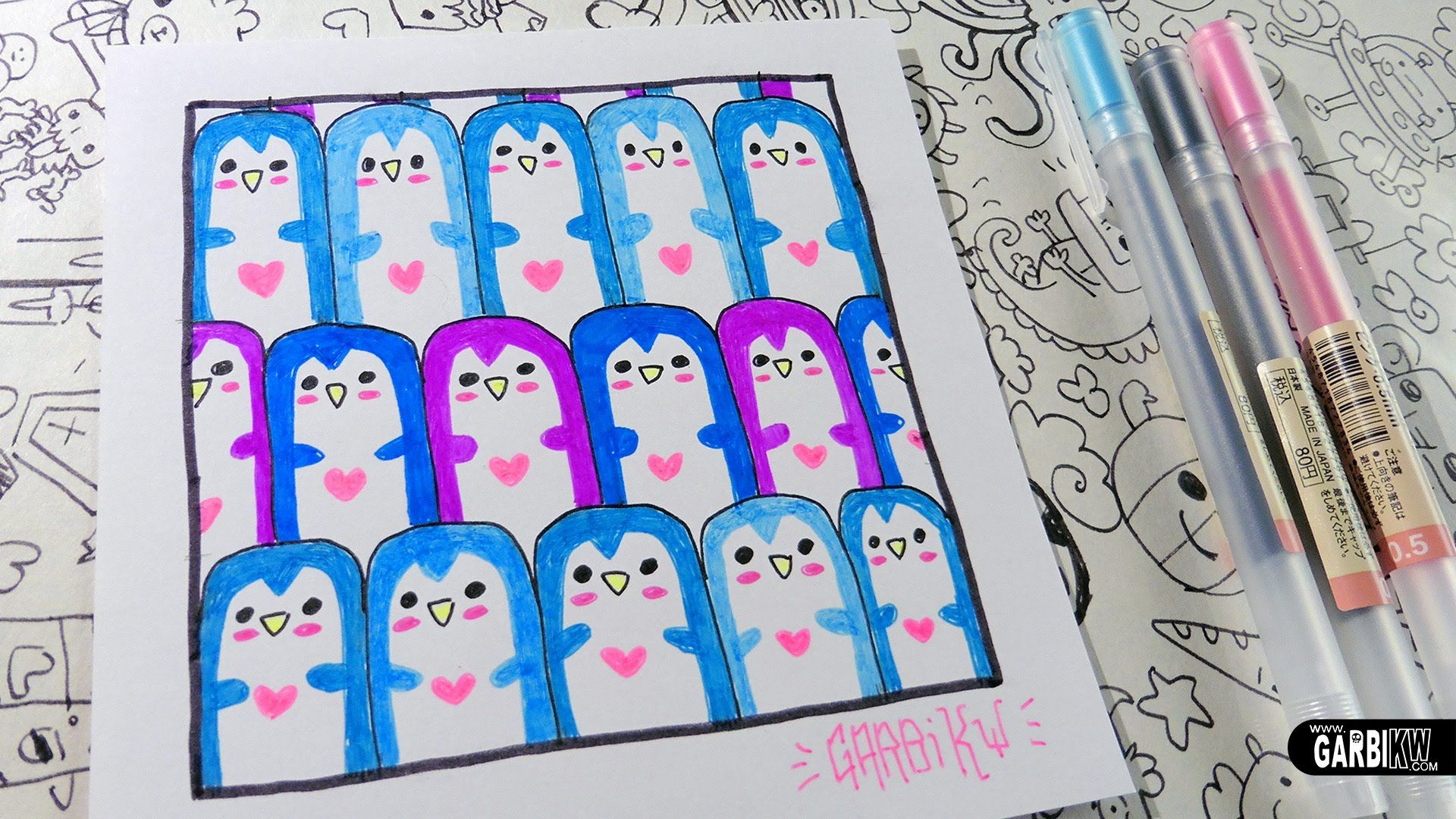 Cute Penguins - How to Draw Patterns for your doodles by Garbi KW