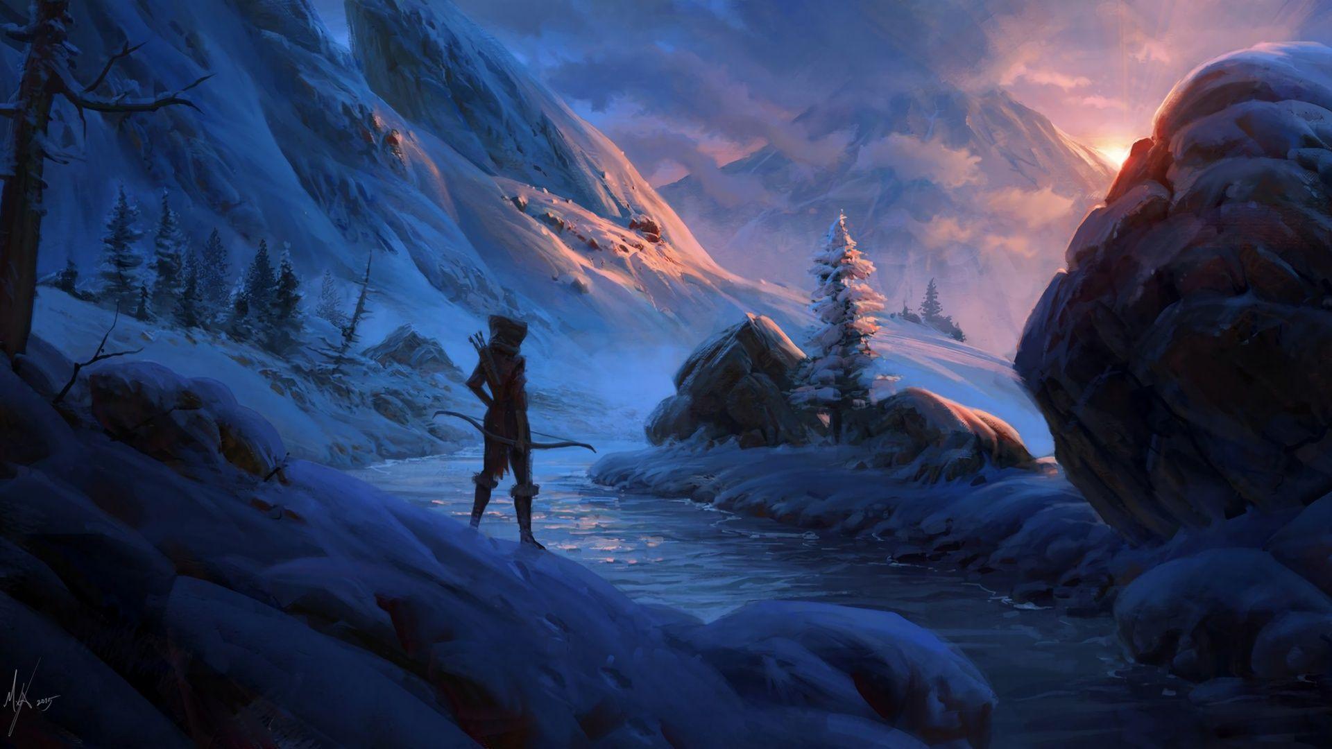 Download Wallpaper Snow Sunset Mountains Stream Stones