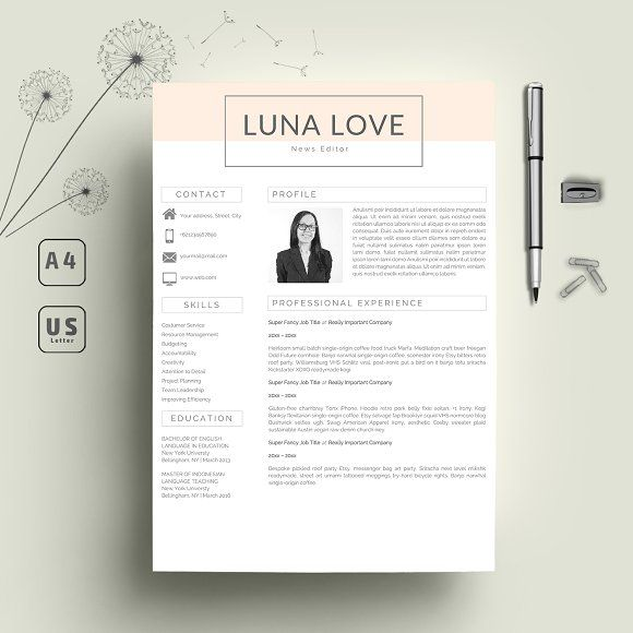word resume 2 page   cover letter by indograph on  creativemarket