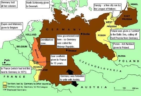 "Image result for image of ""Germany after Versailles"" map"