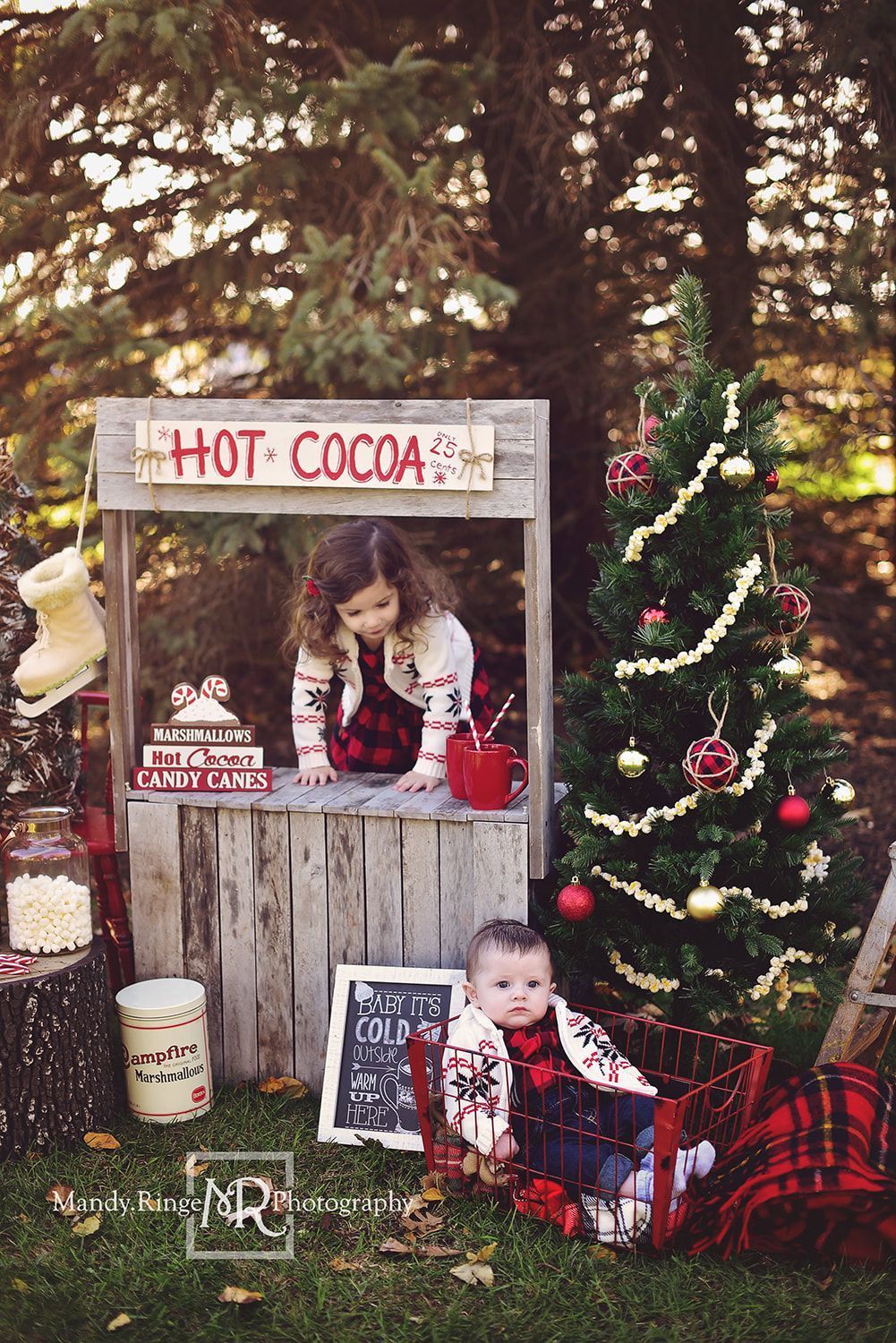 Rustic Hot Cocoa Stand Christmas Mini Session Christmas Photoshoot Kids Christmas Photo Props Christmas Photo Booth