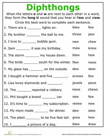 Image result for free printable worksheets for grade 4 diphthongs ...