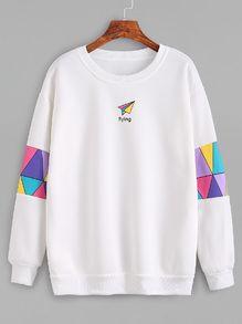 SUDADERA ROMWE http://es.romwe.com/White-Patchwork-Print-Sweatshirt-p-196179-cat-673.html