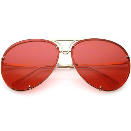 9627a536a Oversize Rimless Aviator Sunglasses Unique Double Crossbar Color Tinted  Lens 69mm (Gold / Red)