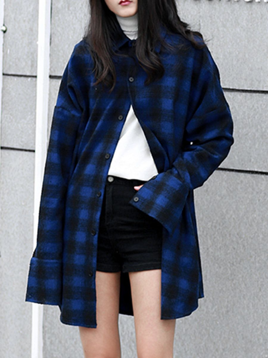 #AdoreWe #StyleWe FUNNY LOVE Blue Shirt Collar Checkered/Plaid Casual Oversized Blouse - AdoreWe.com