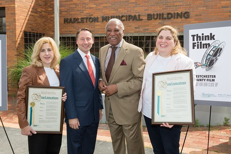 From Left Nicole Zeller Co Owner Of Haven Studios Ny Westchester County Executive Robert P Astorino Mayor Ernie Davis Film Industry Film Proclamation Day