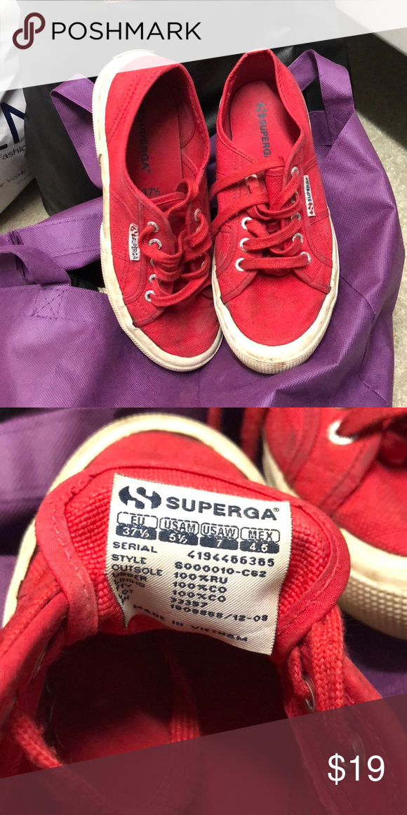 265b0ce2636a RED SUPERGAS Red supergas good condition   just a little dirty on the  rubber platform of the shoe but can easily be cleaned  ) 37.5 or US WOMENS  7!