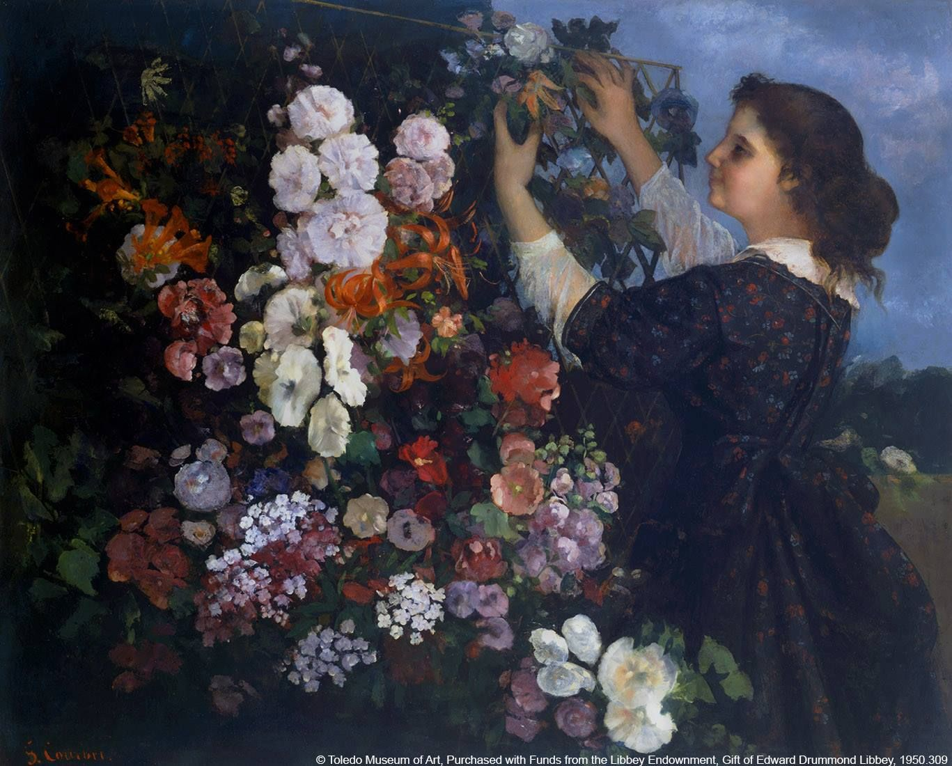 Detail from Gustave Courbet, 'The Trellis, or Young Woman arranging Flowers', 1862 © Toledo Museum of Art, Purchased with Funds from the Libbey Endowment, Gift of Edward Drummond Libbey, 1950.309