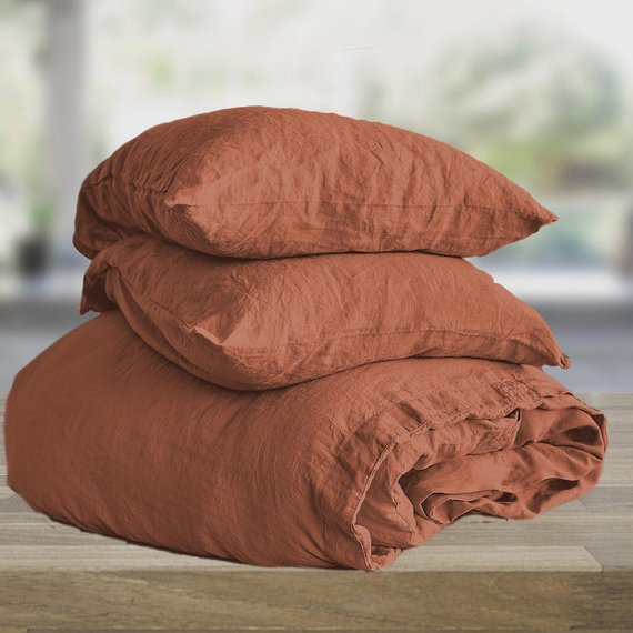 Burnt Orange Linen Duvet Cover King Queen Twin Double Etsy Orange Bedding Bed Linen Design Luxury Duvet Covers