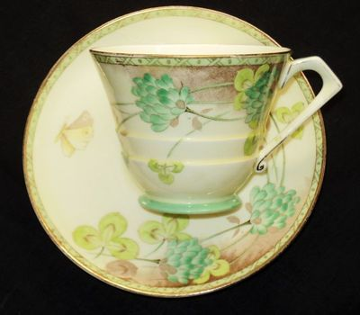 Paragon Butterfly Green Cream Art Deco Tea Cup and Saucer