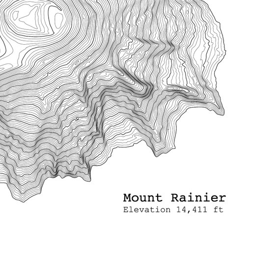Mt Rainier Topographic Map.Mt Rainier Washington Art Print Topographic Map In 2019