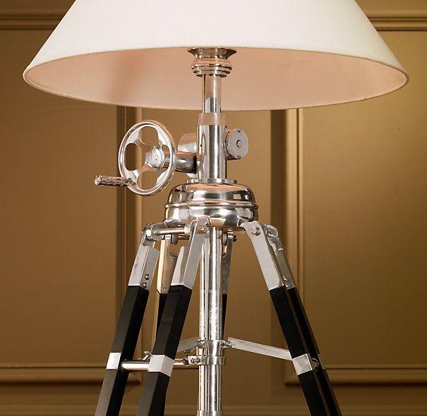 Royal Marine Tripod Floor Lamp Polished Aluminum and Black ...:Royal Marine Tripod Floor Lamp Polished Aluminum and Black,Lighting