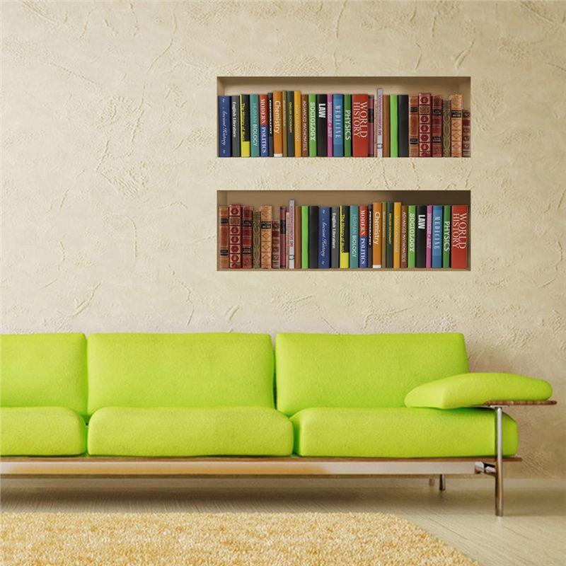 3D Wall Sticker Bookcase Bookshelf Decorative Wall