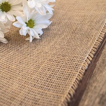 Burlap Table Runner With Fringed Edge, 12.5 X 120 Inches, Natural