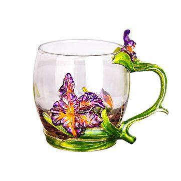 Verre émaillé Rose Tasse À Thé Set Cuillère Tasse À Café Boissons Fraîches Tasse À Bière - Newchic Mobile #boissonsfraîches