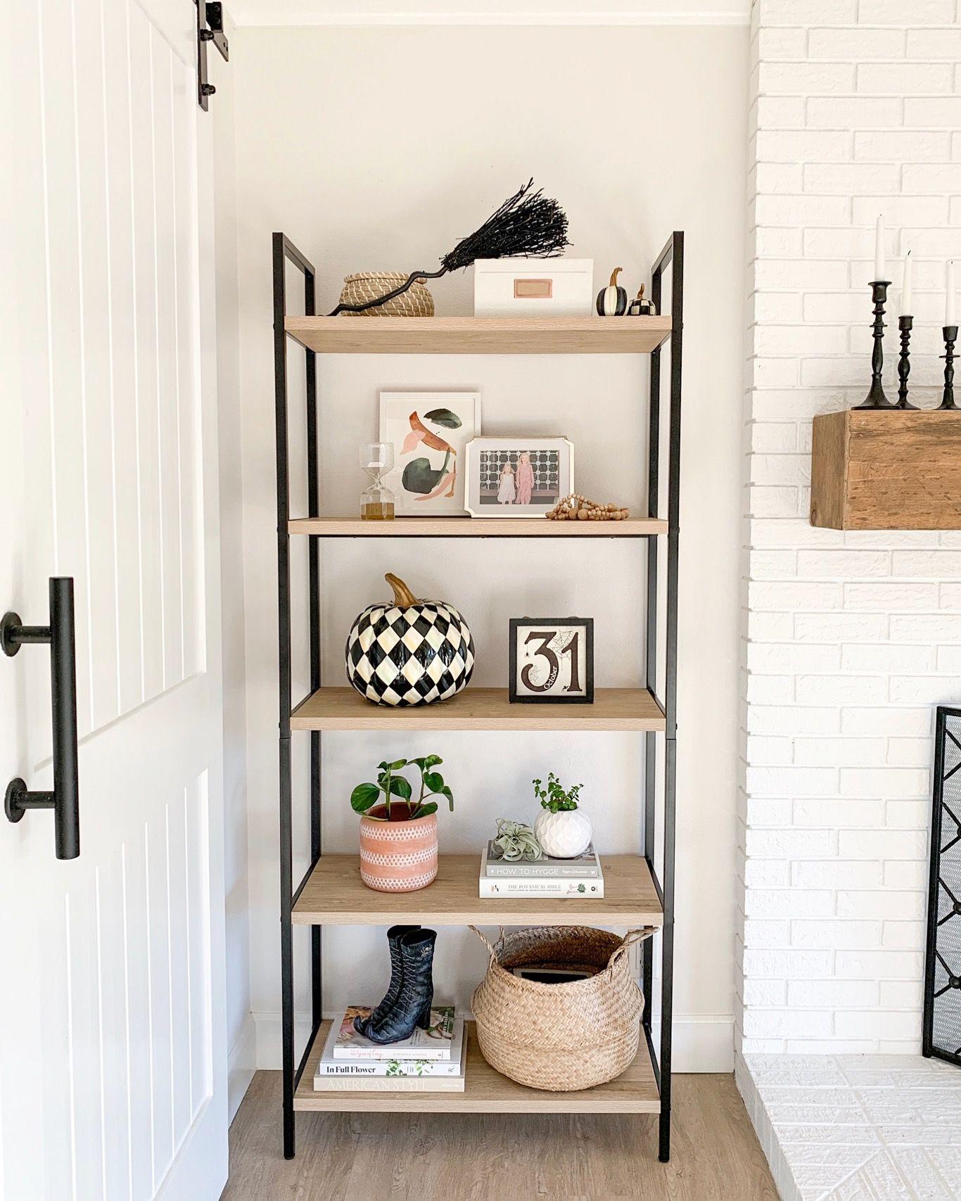 Halloween Shelf Styling for a Modern Farmhouse Bookshelf